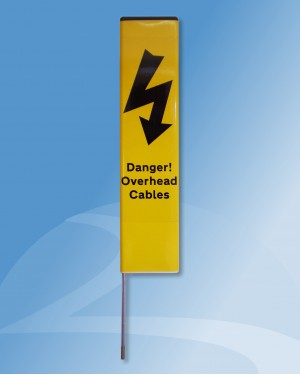 Info Post (Type 8B) YELLOW - Danger! Overhead Cables