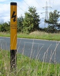 Info Post (Flexible) - Danger! Overhead Cables