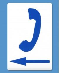 Telephone Symbol Blue, Arrow Left (self-adhesive)