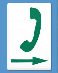 Telephone Symbol Green, Arrow Right (self-adhesive)